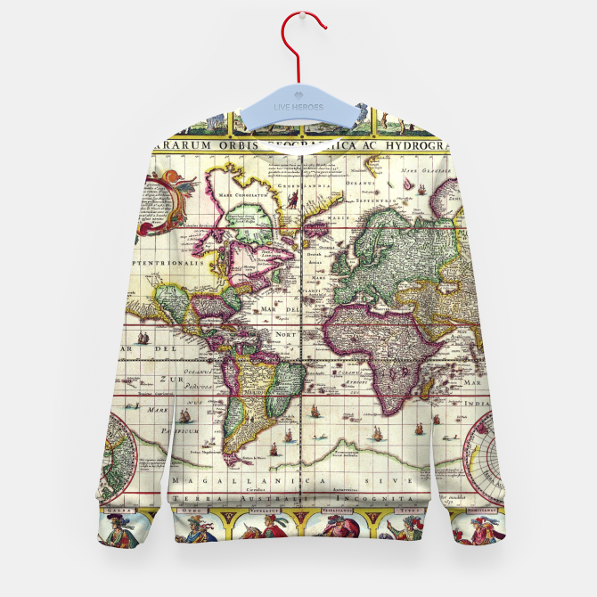 World Map Sweater.Vintage 1652 World Map By Claes Janszoon Visscher Kid S Sweater