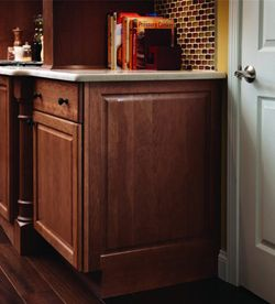Molding And Accent Details Integrated Base End Panel Kraftmaid Bathroom Cabinetry Paneling Kitchen Cabinet Design