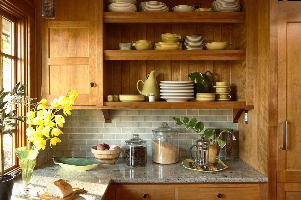 Oak Cabinets Kitchen Transitional With Contemporary Pendant Lights