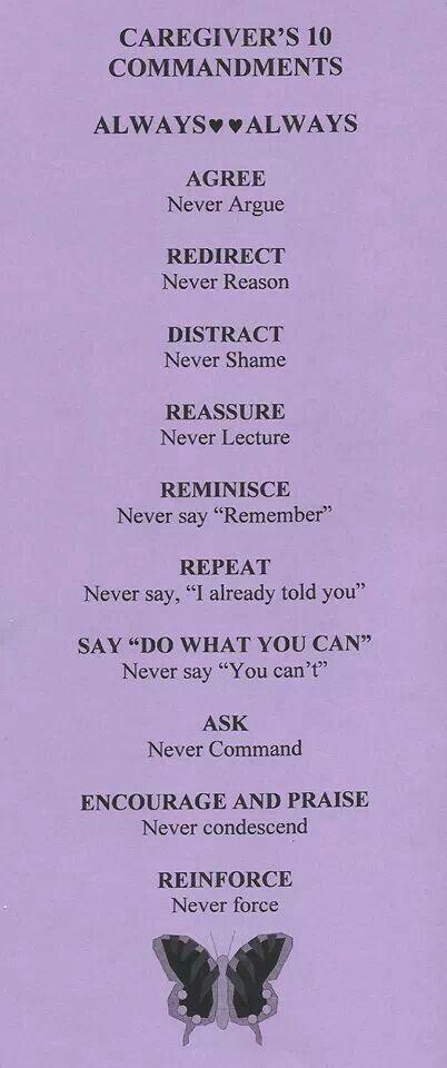 Caregivers .... follow these rules. #caregiver #caregiving #alzheimers