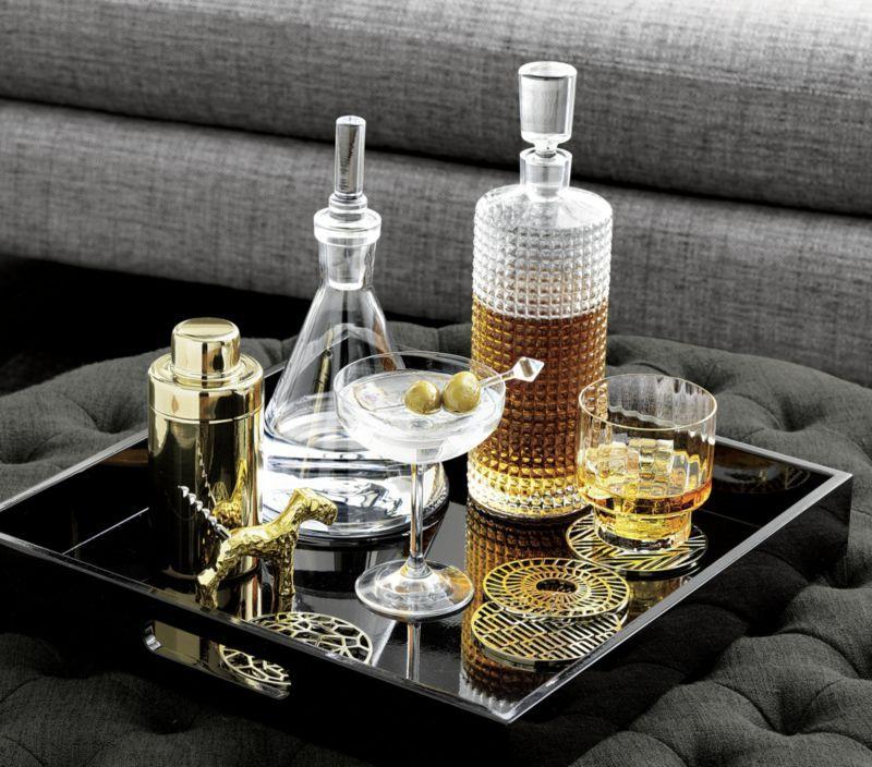 Hi-Gloss Square White Tray   Bar accessories, Decanter ...