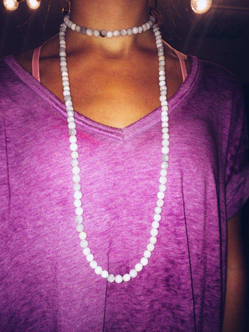 double wrap white necklace