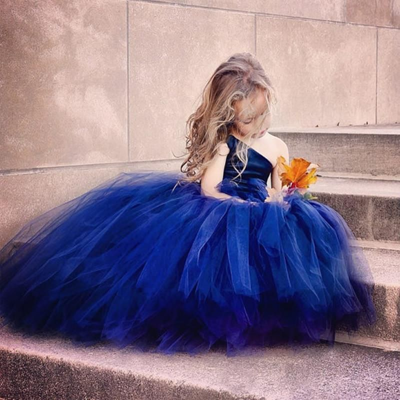 Royal blue flower girl dresses for toddlers one shoulder tulle a royal blue flower girl dresses for toddlers one shoulder tulle a line cupcake pageant gowns for wedding beads back lace up communion dress flower girl mightylinksfo