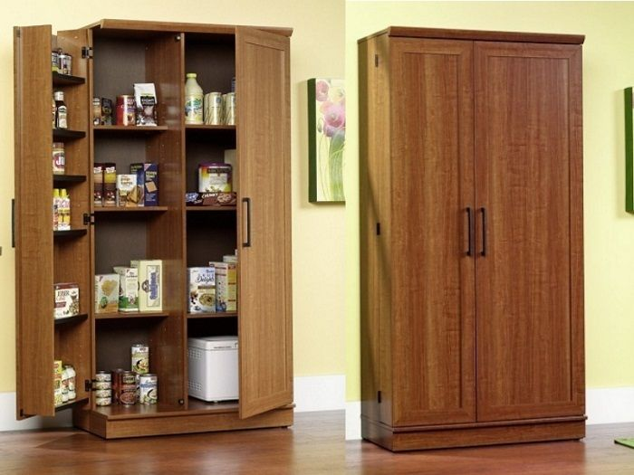 Tall Kitchen Pantry Cabinet Large Food Linen Storage Cupboard Wood Light Oak Sdrfurniture Contemporary