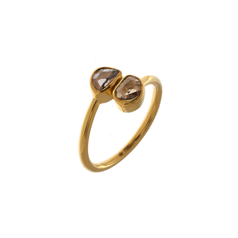 """Plum"" 18ct Gold Plated Diamond Slice Ring - TK Maxx ..."