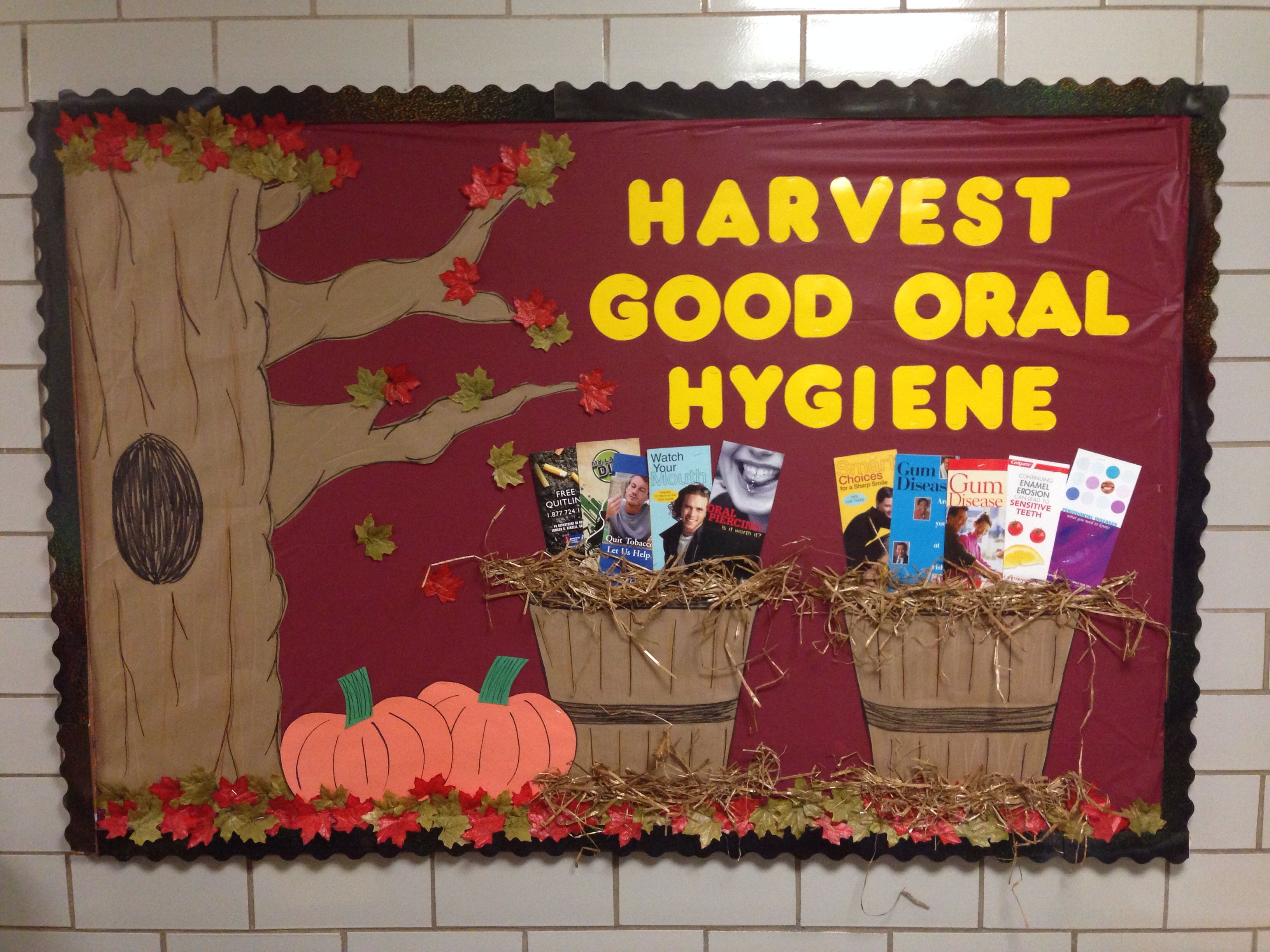 Classroom window decoration  Harvest Good Oral Hygiene could use other things in baskets but I