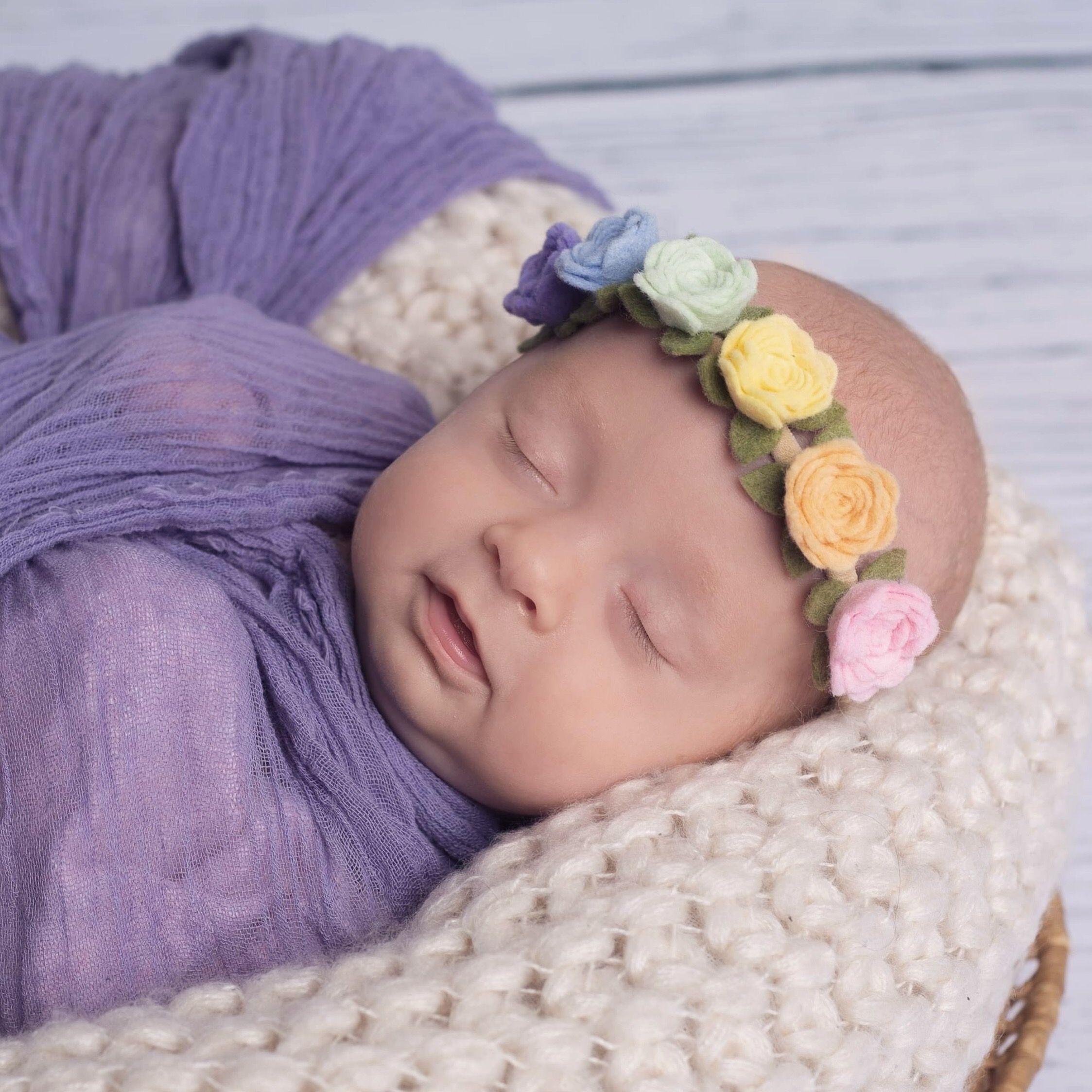 Rainbow newborn Headband, Baby Floral Headband, Toddler ...
