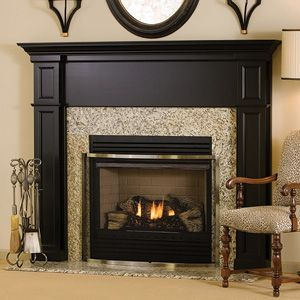 Wood fireplace and Fireplace mantel