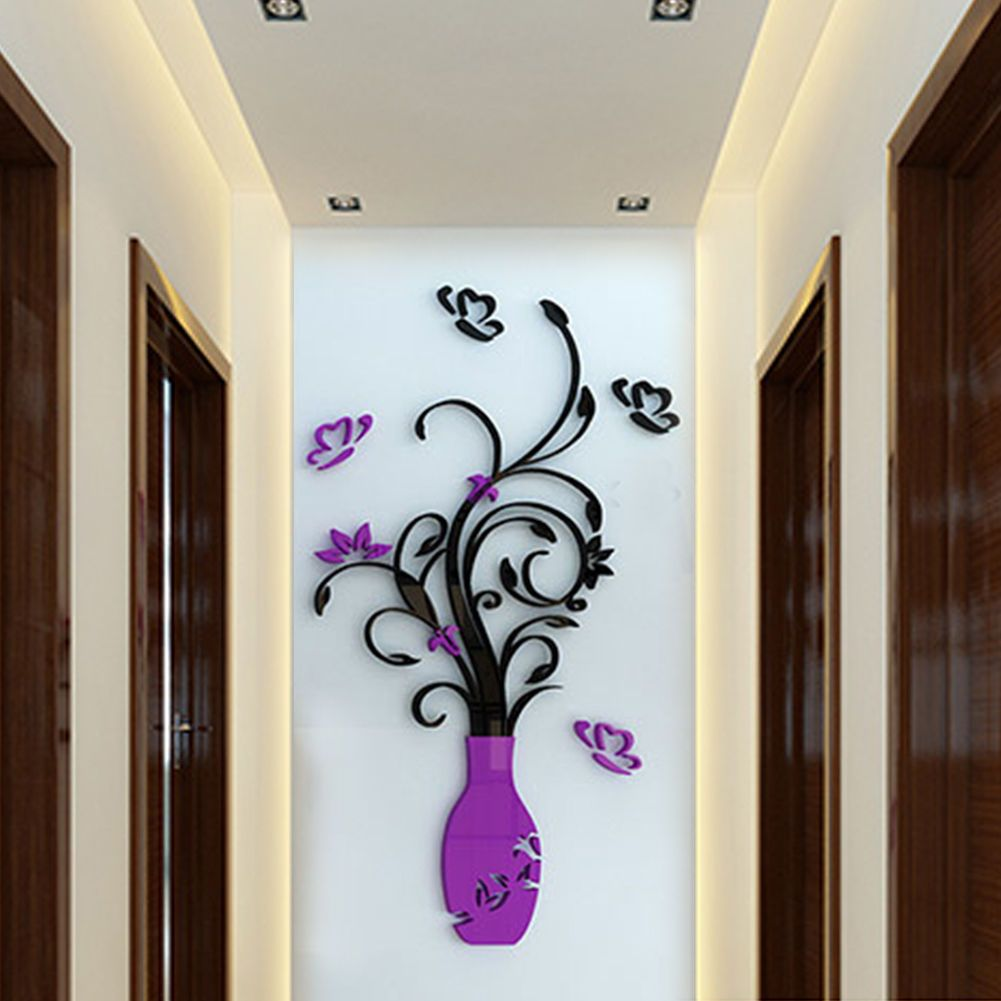 D flower removable vinyl quote diy wall sticker decal mural