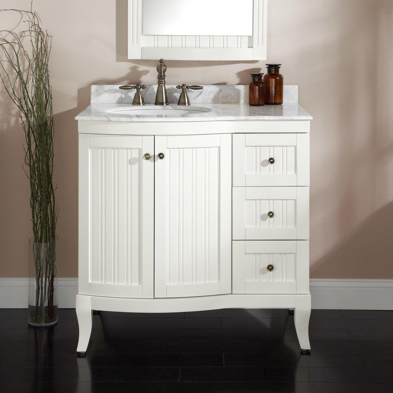 36 Palmetto Vanity In Creamy White Paint White Vanity Bathroom White Vanity Bathroom Vanity [ 1500 x 1500 Pixel ]