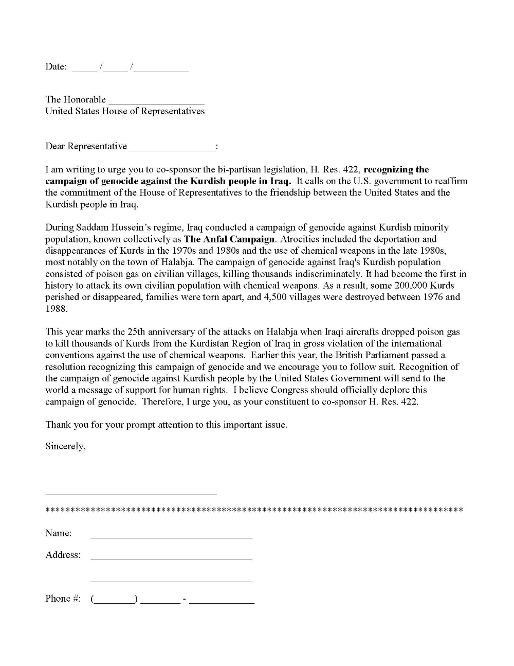 Writing A Letter To A Senator Template - slide share
