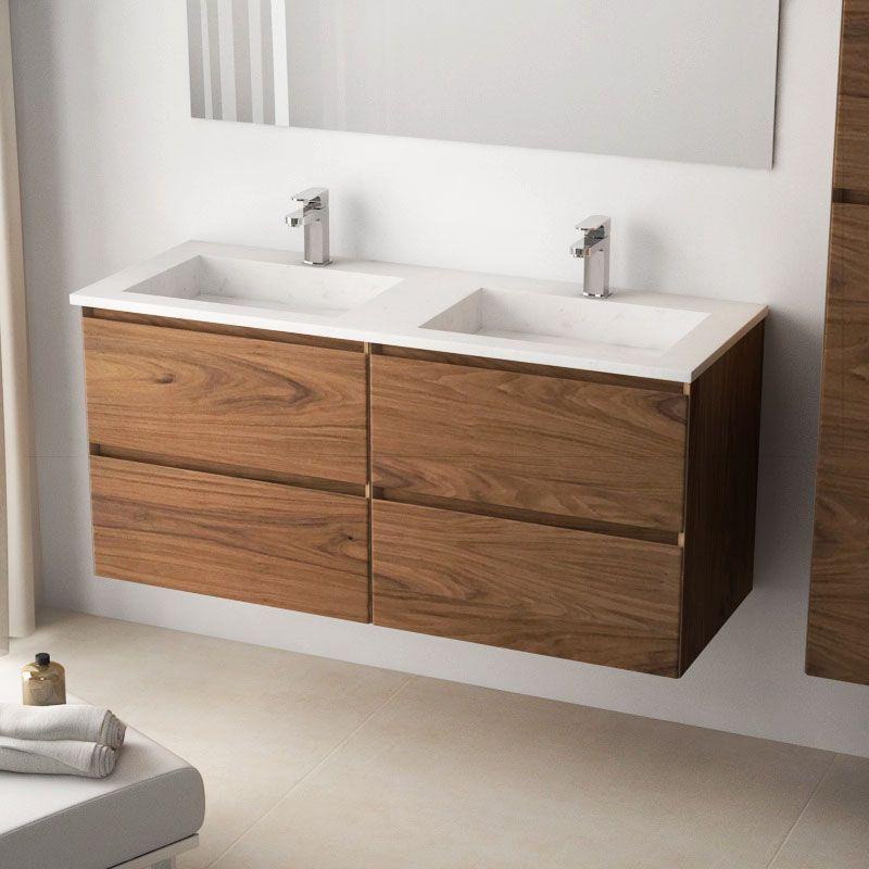 Cordoue, Meuble salle de bain bois noyer 121 cm, double vasque ...