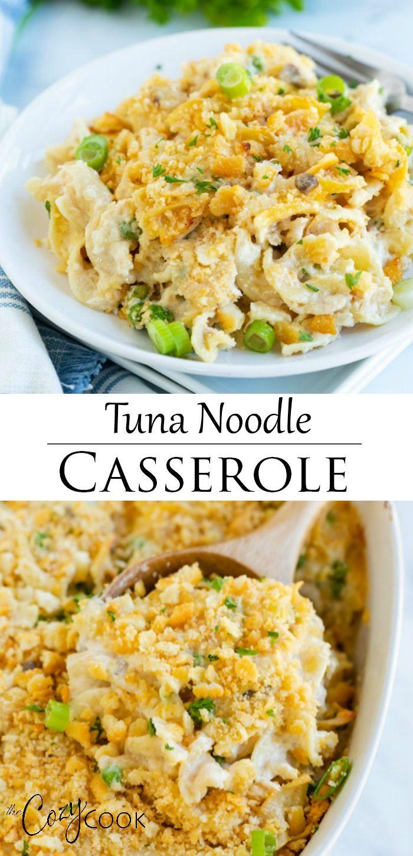this tuna noodle casserole has an easy mushroom soup