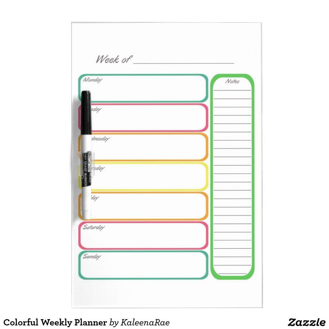 Colorful Weekly Planner Dry Erase Board
