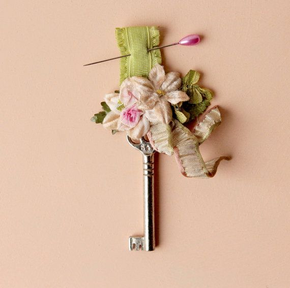 groomsmen boutonniere embellished antique key pin by whichgoose, $15.00