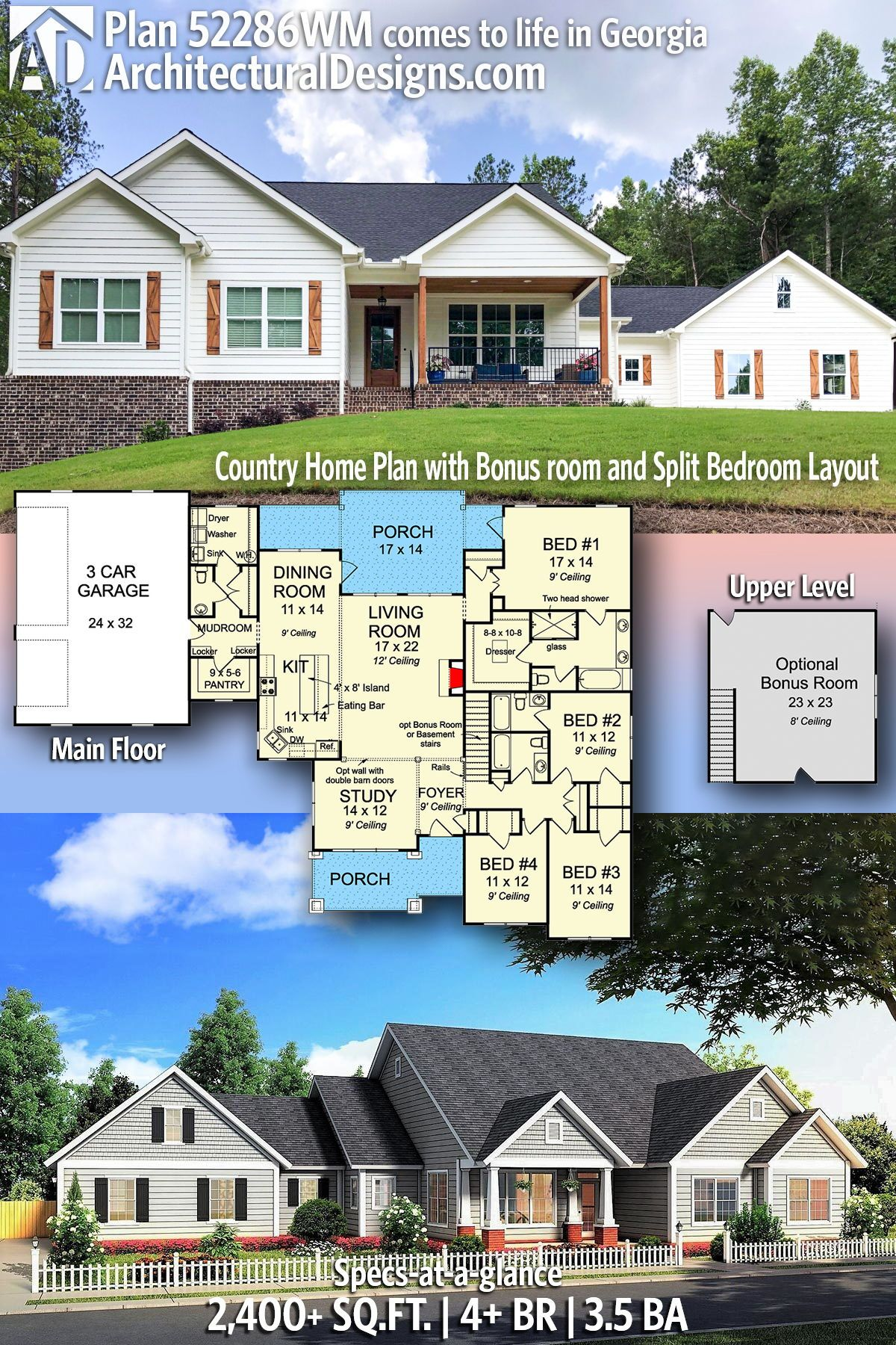 Plan 52286wm Country Home Plan With Bonus Room And Split Bedroom Layout Country House Plans House Plans Farmhouse House Plans
