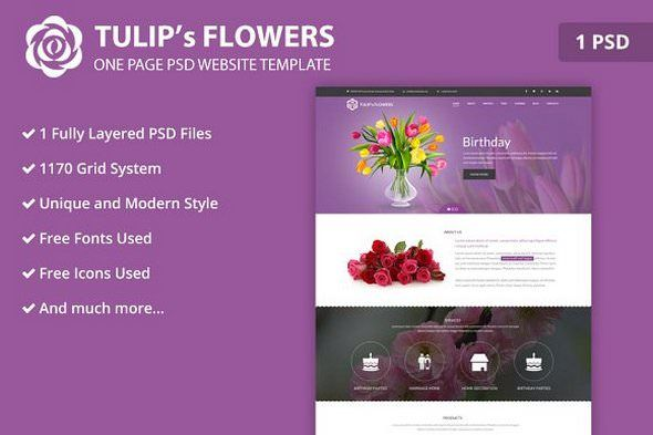 Free Birthday Website Template ~ Creativemarket one page flower psd website template nulled