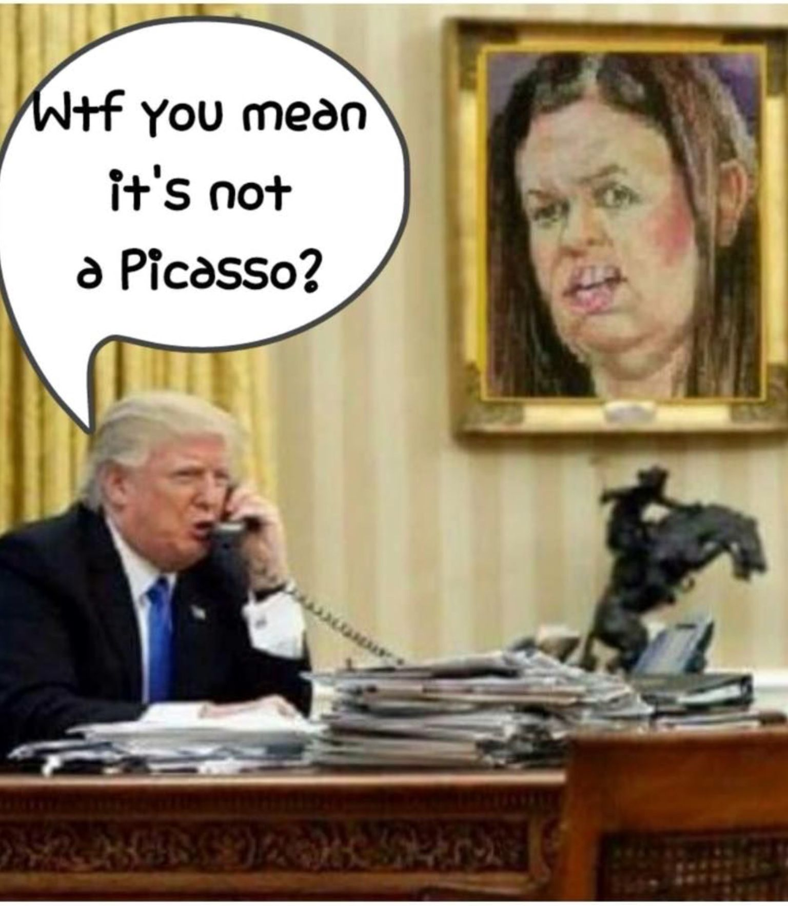 089c31e05b80 Great likeness of Sara The Cow!! If she didn t tell so many Lies standing  at that podium