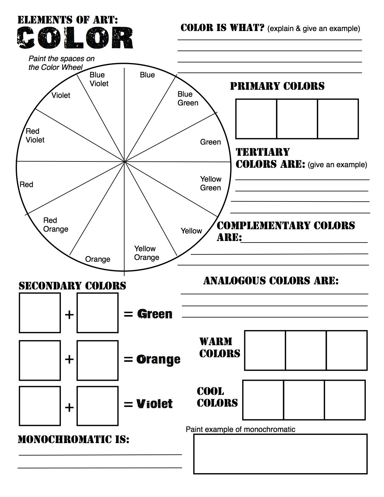 Color theory review sheet made for Studio in Art. Revised from  http://pinterest.com/pin/118782508893259117/   Art worksheets [ 1650 x 1275 Pixel ]