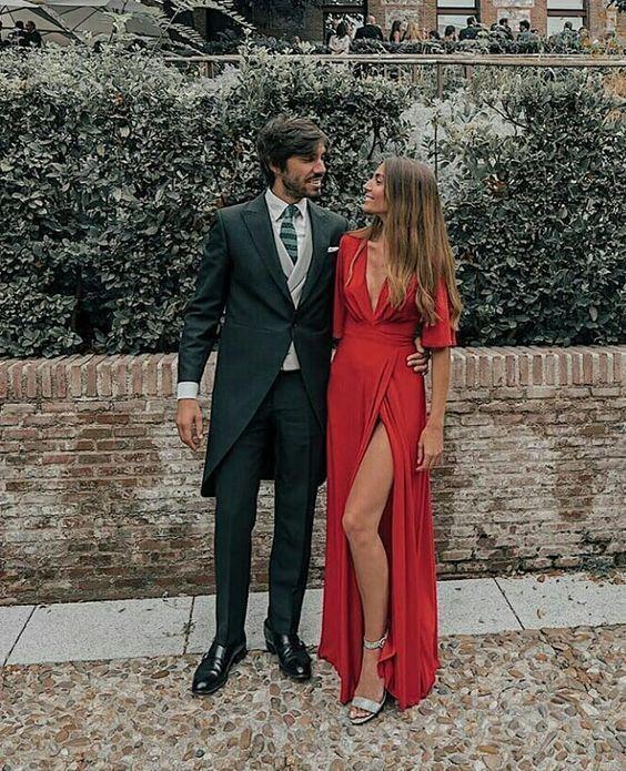 Half sleeve prom dresses red deep v neck evening dresses