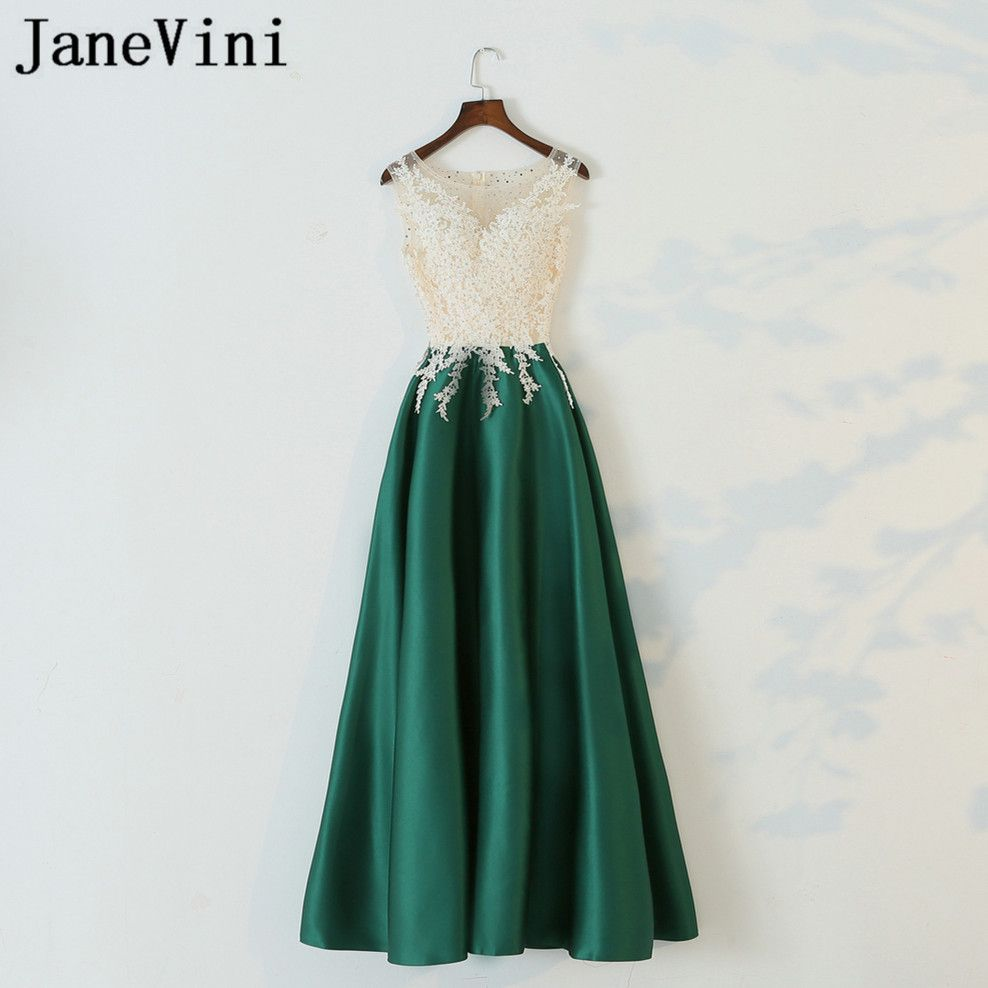JaneVini 2018 Elegant Green Satin Women Wedding Party Dress Beaded Lace  Sleeveless Long Bridesmaid Dresses Formal c9db015871b0