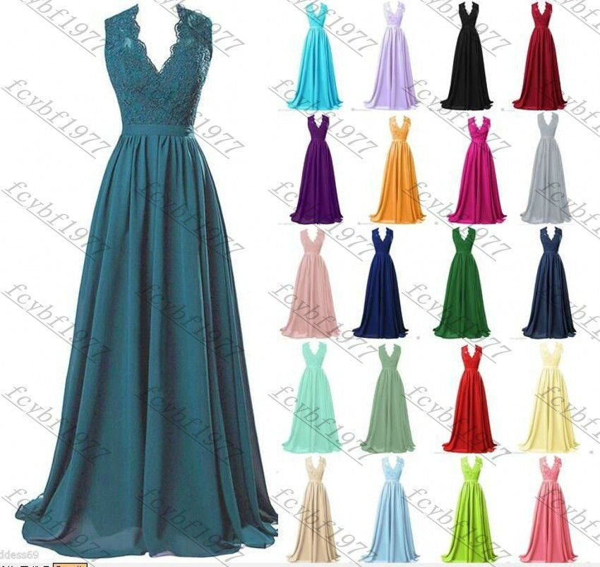 Long Chiffon Lace Evening Formal Party Ball Gown Prom Bridesmaid