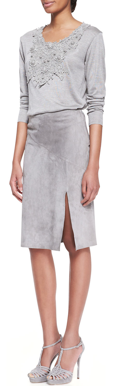 Ralph Lauren Collection Embellished Scoop-Neck Top and Anastasia Suede Slit Skirt(Lambskin suede skirt with side slit, and embroidered floral lace scoop-neck top)