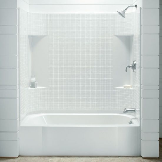 It s been so difficult to find an attractive one piece acrylic or  fiberglass tub shower enclosure Love the storage in this unit A pi Pinteres FINALLY