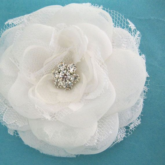 3 inch White Lace Organza and Tulle Rose Hair Clip  by HARTfeltart, $29.00