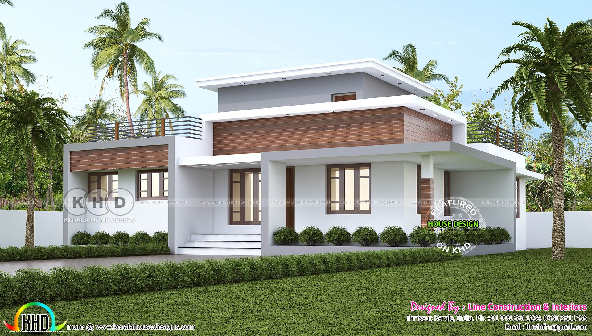 1300 square feet 3 bedroom flat roof house plan single