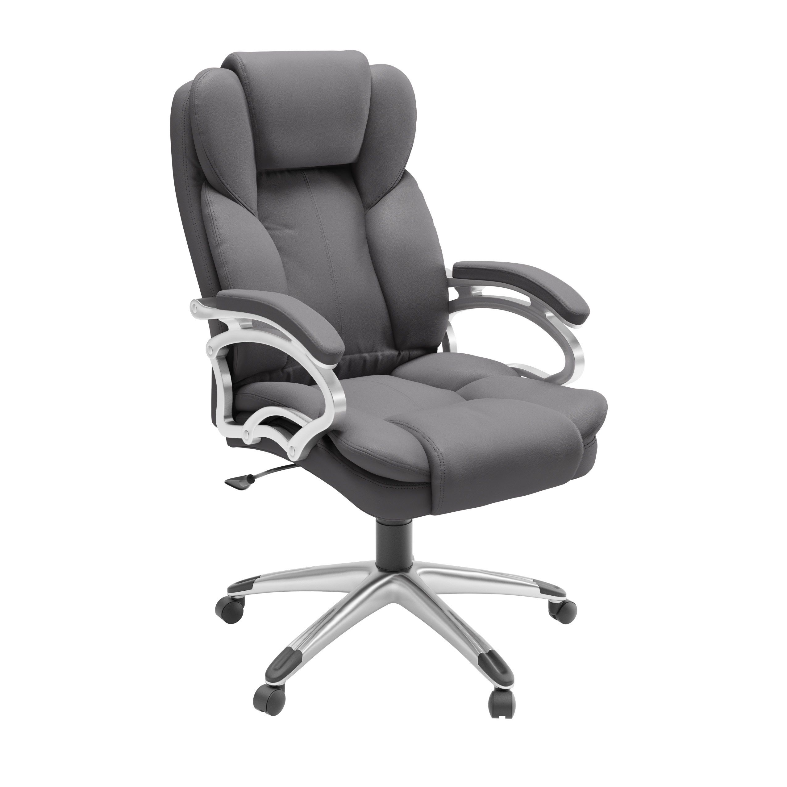 Executive Steel Grey Leatherette Office Chair Gray Corliving