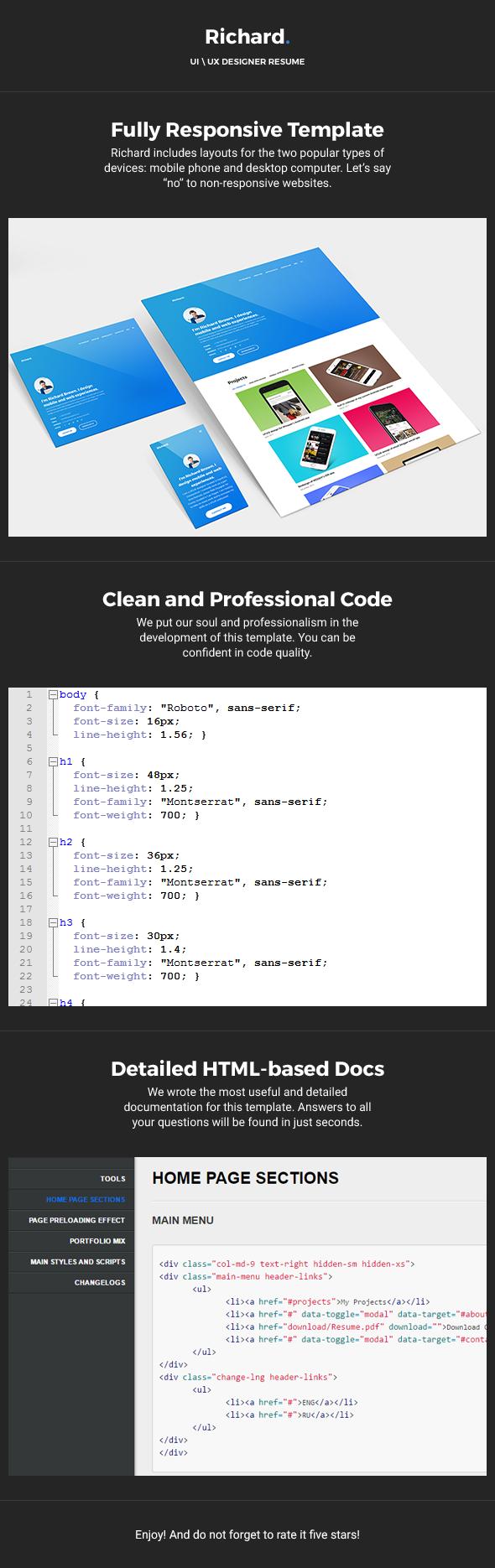 Richard u2014 UX Designer ResumePortfolio HTML Template