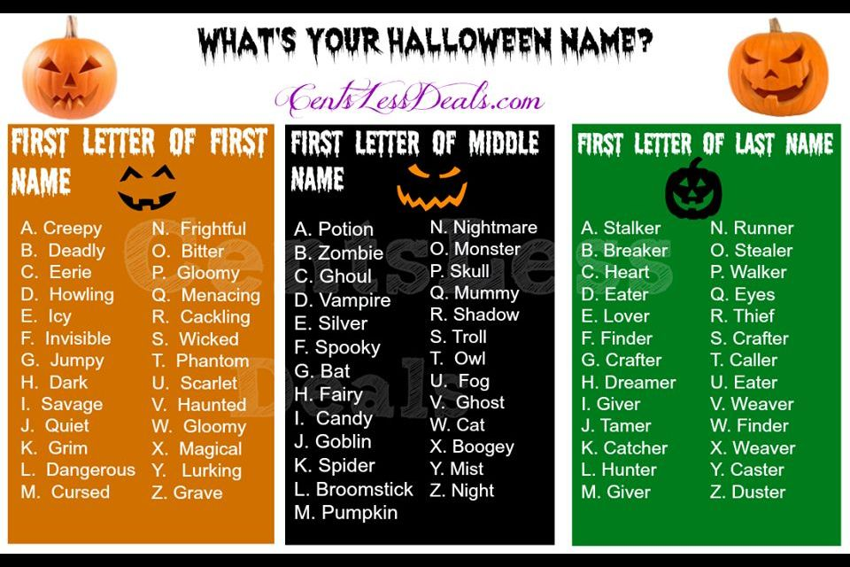 This Would Be Fun To Do With My Kids Halloween Names Funny Name Generator Fun Halloween Party Games