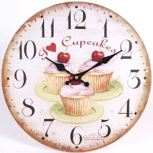 shabby chic large i love cupcakes cherry cupcake 34cm kitchen wall clock. Black Bedroom Furniture Sets. Home Design Ideas