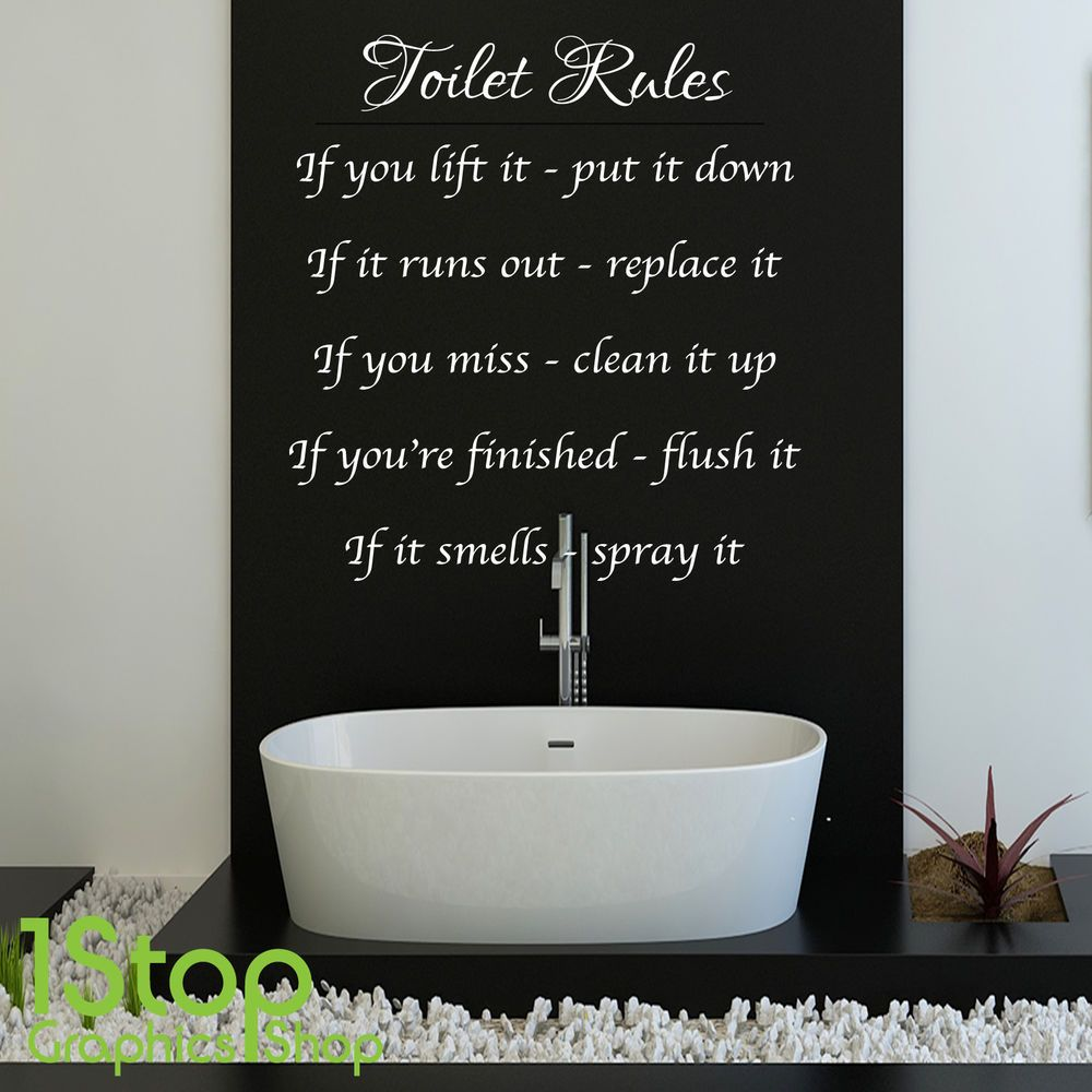 TOILET RULES WALL STICKER QUOTE BATHROOM HOME WALL ART DECAL - Toilet wall stickers