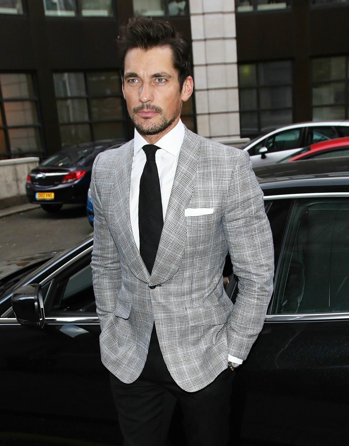 David Gandy wearing Grey Plaid Blazer, White Dress Shirt