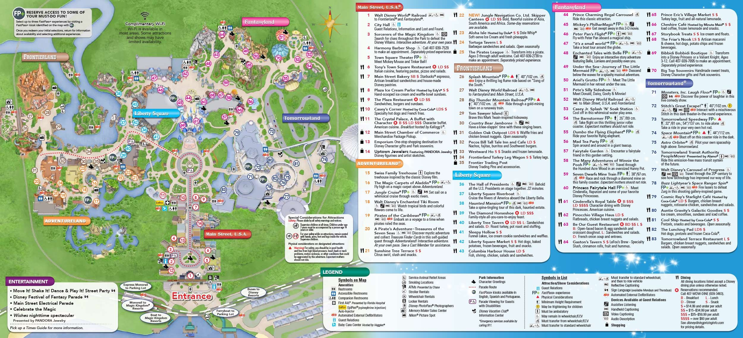 Disney World Map 2017 Magic Kingdom Park map and links to other DW park maps (With