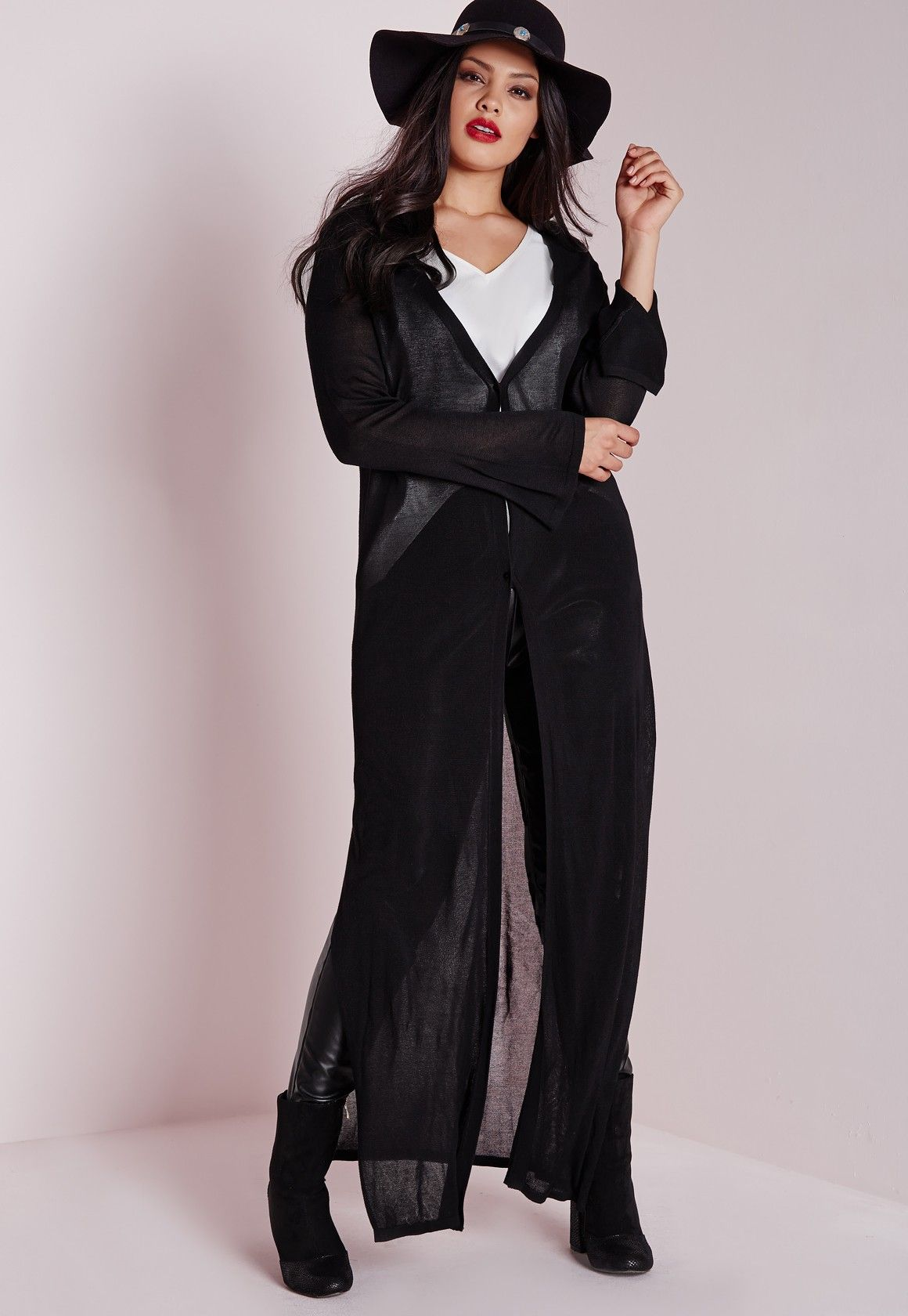 Missguided - Plus Size Button Down Maxi Cardigan Black | Shopping ...