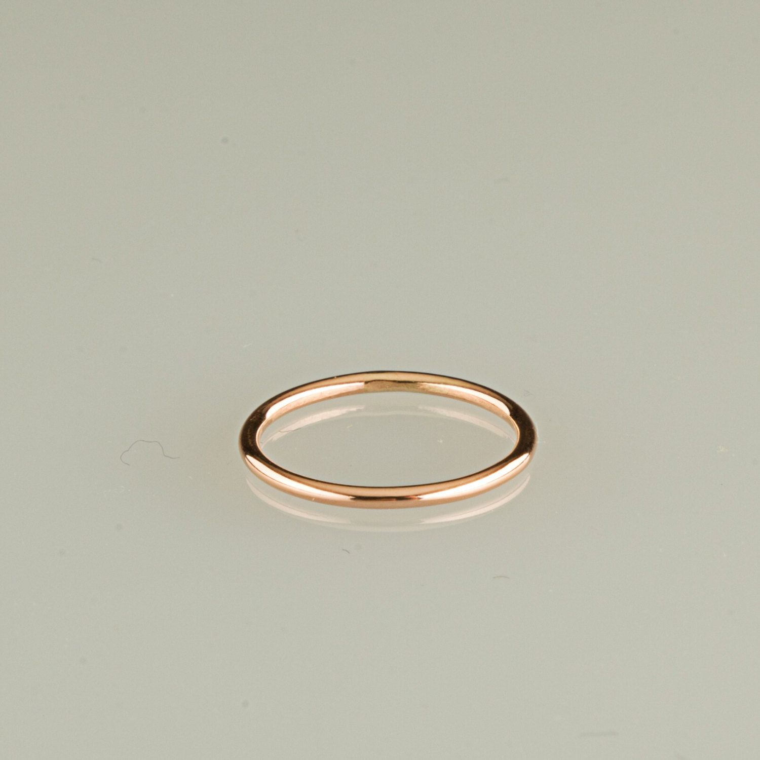 ONE ring 10kt solid gold Rose gold Pink gold 18g stacking