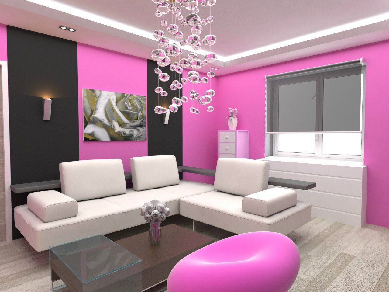 Paint colors for bedrooms pink - Pretty Living Room Paint Idea With Pink And Black Painted Wall And White L Shaped