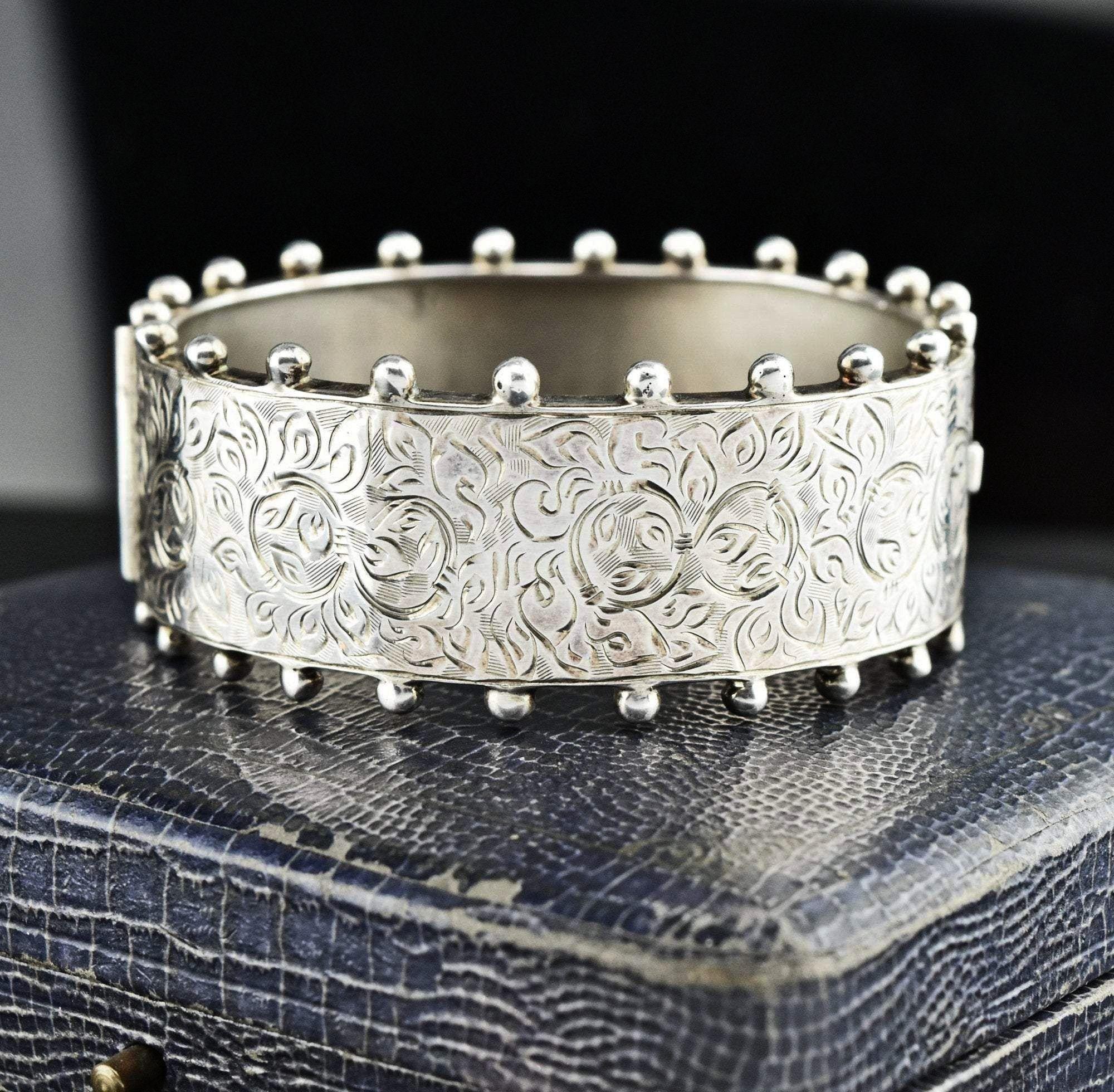 Sterling Silver Engraved Wide Cuff Bracelet Victorian Sterling Silver Engraved Wide Cuff Bracelet VIntage Albert Watch Chain Bracelet 1900s  Boylerpf Vintage Victorian El...