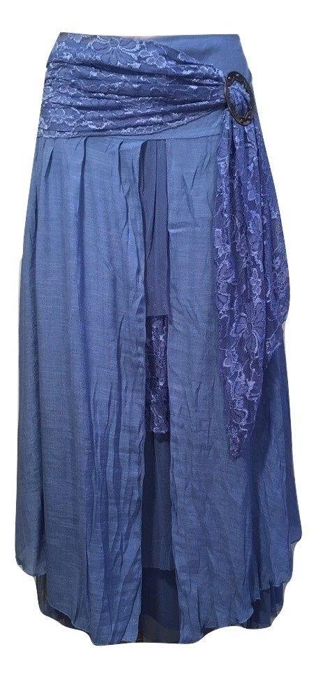Pretty Angel S M L XL Blue Boho Skirt Lined Sheer Ruffles Antique Buckle 27114 #PrettyAngel #PeasantBoho