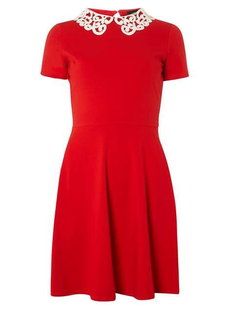 Red Lace Collar Fit and Flare Dress - New In   Lace collar, Red lace ...