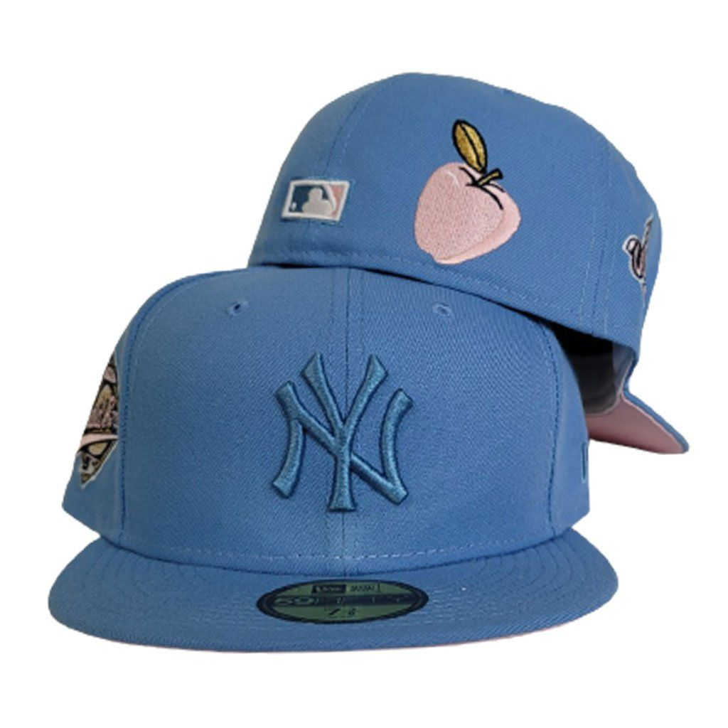 Sky Blue New York Yankees 1996 World Series Pink Bottom New Era 59fifty Fitted In 2021 Pink Bottom New Era 59fifty New Era