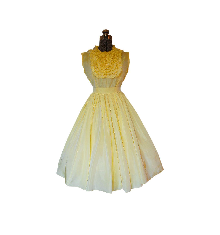 Vintage s s dress lemon yellow taffeta full skirt party prom