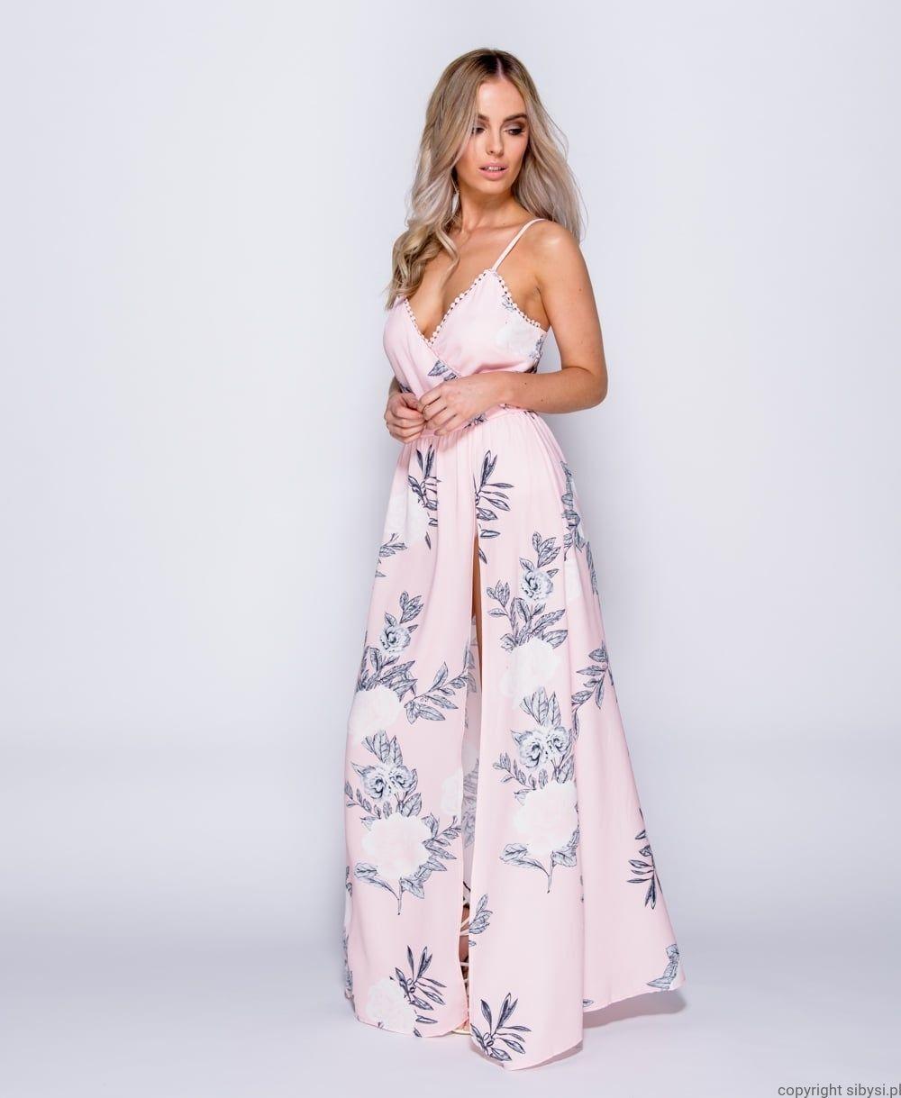 f15980db75 Patiricia- Sukienka maxi w kwiaty (pudrowy róż)
