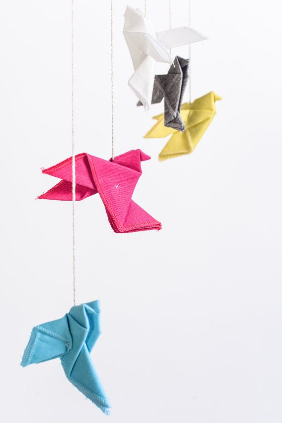 Origami Mobile Dove Birds Children Modern Nursery