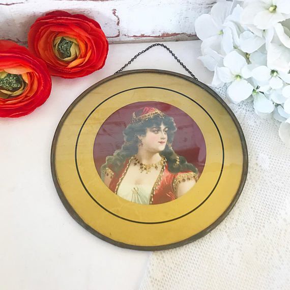 Stunning Antique Gypsy Woman Flue Cover Vintage Portrait Beautiful ...