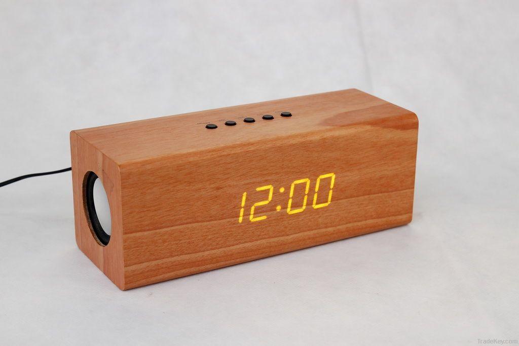 Wooden Led Alarm Clock Radio Relogios