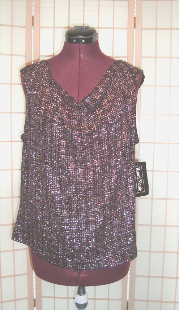 Ronnie Nicole New WT Sz XL Pink & Black Shimmer Knit Boat Neck Top #RonnieNicole #KnitTop